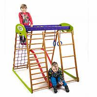 Детский спортивный комплекс-уголок для дома и квартиры, сетка, горка, кольца, рукоход 130х124х132см КP1