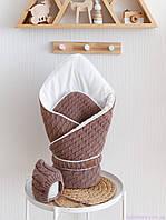 """Вязанный набор на выписку """"Косы"""": конверт + шапочка, цвета капучино"""