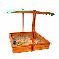 Детская песочница с крышой навесом для улицы и дачи деревянная с лавочкой 150х145х145 см