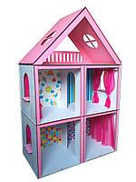 Кукольный домик для кукол Барби (Barbie) Большой Особняк + обои + шторки 68х34х100 см (3105)