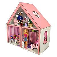 Кукольный ЭКО домик для кукол Барби (Barbie) Особняк + мебель + текстиль 68х34х68 см (3104)