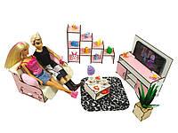"""Лялькова меблі ЕКО для ляльок у ляльковий будиночок - Набір """"Вітальня"""" з 5 предметів (3113)"""