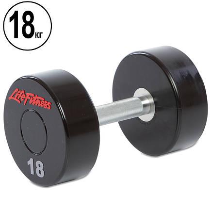 Гантель цельная профессиональная Life Fitness (1шт) 18 кг (полиуретановое покрытие, вес 18кг), фото 2