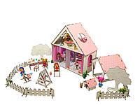 """Кукольный Домик для кукол ЛОЛ + дворик с мебелью, текстилем и обоями """"LITTLE FUN"""" 40х20х40 см (2111)"""