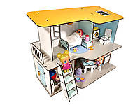 """Кукольный двухэтажный домик для кукол ЛОЛ LOL """"Пляжный домик"""" с мебелью и текстилем 40х20х32 см (2402)"""