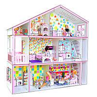 Кукольный ЭКО домик для кукол Барби (Barbie) Дом мечты с мебелью, текстилем, лестницей 110х34х110 см (3126)