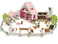 """Кукольный Домик для кукол ЛОЛ + ферма + дворик с мебелью и текстилем """"LITTLE FUN"""" 40х20х40 см (2123)"""