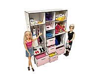 """Лялькова меблі ЕКО для ляльок у ляльковий будиночок - Набір """"Шафа Великий"""" з 11 предметів (6102)"""