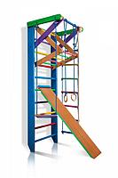 Детская шведская стенка - цветной спортивный уголок: кольца, канат, турник-рукоход, лестница 80х220 см Р3-220