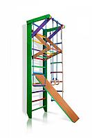 Детская Шведская стенка - цветной спортивный уголок: кольца, канат, турник-рукоход, лестница 80х240 см РГ3-240