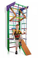 Детская шведская стенка - цветной спортивный уголок: кольца, канат, турник-рукоход, лестница 80х220 см РГ3-220