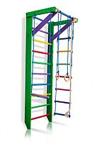 Детская Шведская стенка - цветной спортивный уголок: кольца, канат, турник, лестница 80х220 см зеленый РГ2-220