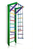 Детская Шведская стенка - цветной спортивный уголок: кольца, канат, турник, лестница 80х240 см зеленый РГ2-240