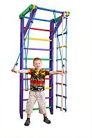 Детская Шведская стенка - цветной спортивный уголок:  кольца, канат, турник, лестница 80х220 см фиолетовый