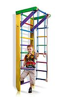 Детская Шведская стенка - цветной спортивный уголок: кольца, канат, турник, лестница 80х220 см желтый Ю2-220