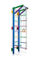 Детская Шведская стенка - цветной спортивный уголок: кольца, канат, турник, лестница 55х220 см синий T2-220