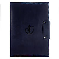 Кожаная папка - портфель для документов Anchor Stuff Подарок юристу А4 Темно-синяя