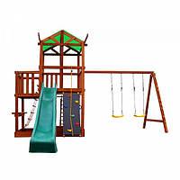 Детский игровой комплекс спортивный деревянный, площадка детская, горка, качели и песочница 430х410х320 см