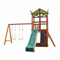 Детский игровой комплекс спортивный деревянный, площадка детская, горка, качель и песочница 460х410х320 см