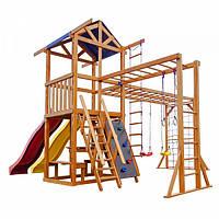 Детский игровой комплекс спортивный деревянный, площадка детская, горка, кольца, качели, песочница 430х410х310