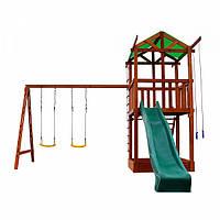 Детский игровой комплекс спортивный деревянный, площадка детская, горка, качели, песочница 380х410х320 см