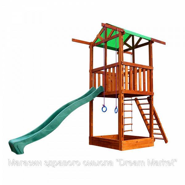 Дитячий ігровий комплекс спортивний дерев'яний, дитячий майданчик, гірка, пісочниця, кільця 320х160х410 см