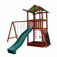 Детский игровой комплекс спортивный деревянный, площадка детская, горка, качели и песочница 440х410х320 см