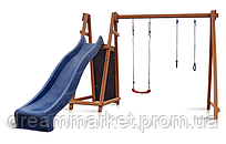 Детский игровой комплекс спортивный деревянный, площадка детская, качели, кольца, горка 300 см, 250х320х240 см