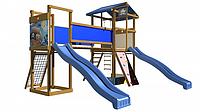 Детская площадка-игровой комплекс спортивный деревянный, горки, башня, лестница, мостик 315х400х430 см