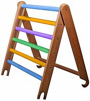 Деревянный Турник Kinder для Шведской стенки или Спортивного уголка, цветной, съемный, нагрузка 60кг 80х65 см