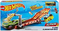 Детский Игровой Трек Хот Вилс Отборочная гонка 4 трассы с машинкой - Hot Wheels 4-Lane Elimination Race Trackset