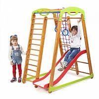 Детский спортивный комплекс-уголок для дома и квартиры, сетка, горка, кольца, рукоход 150х85х132 см К-2P1