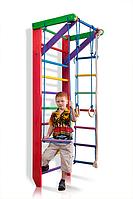 Детская Шведская стенка - цветной спортивный уголок: кольца, канат, турник, лестница 80х220 см розовый Б2-220