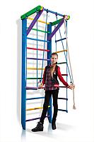 Детская Шведская стенка - цветной спортивный уголок: кольца, канат, турник, лестница 80х240 см синий Р2-240
