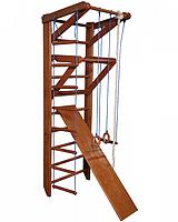 Детская шведская стенка - деревянный спортивный уголок, турник-рукоход, кольца, лестница 80х220см О3-220