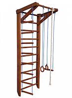 Детская шведская стенка - деревянный спортивный комплекс-уголок, турник, кольца, лестница, 80х220 см О2-220