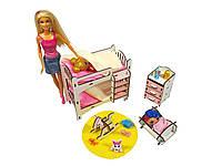 Кукольная мебель ЭКО для кукол в кукольный домик - в наборе кровать, лошадка, люлька, комод (3114)