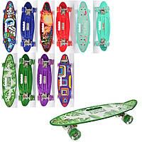 Скейт (пенни борд) Penny board со светящимися колесами АБСТРАКЦИЯ СИНИЙ арт. 0461-3