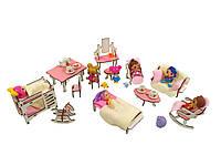 Кукольная мебель ЭКО для кукол ЛОЛ в кукольный домик - Набор из 12 предметов для кукольного домика (1102)