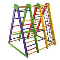 Детский спортивный комплекс-уголок для дома и квартиры, сетка, горка, кольца 130х100х130 см Э-3
