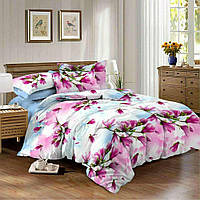 КОМПЛЕКТ ПОСТЕЛЬНОГО БЕЛЬЯ. Ткань САТИН. размер - ПОЛУТОРКА, 1,5-ка. Цвет розовый, голубой с цветами