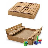 Детская Деревянная Компактная Песочница с лавочками, крышкой и бортиками для улицы и дачи 100х100х30 см
