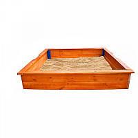 Детская Деревянная Классическая Песочница с бортиками-лавочками для дачи и игровой площадки 145х145х25 см