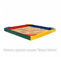 Детская Деревянная Песочница Ракушка с угловыми сиденьями и бортиками для дачи и игровой площадки 145х145х12см