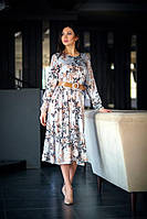 Изящное женственное платье из шелка под широкий ремень светло-серое размер 42-48