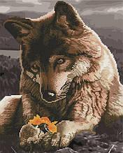 Алмазная картина раскраска Волк и цветок 40*50 см. Rainbow Art