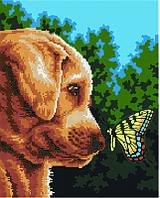 Алмазная картина раскраска Щенок и бабочка 40*50 см. Rainbow Art