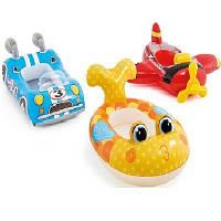 Детский надувной круг-плотик для плавания ( 59380) Красный самолетик