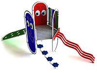 Спортивно-игровой уличный комплекс для детской площадки с тремя металлическими лазалками Рим 260х190х220 см