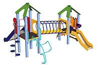 Спортивно-игровой Комплекс для детской площадки с двумя горками для детей от 4-7 лет Лягушонок 410х375х250см